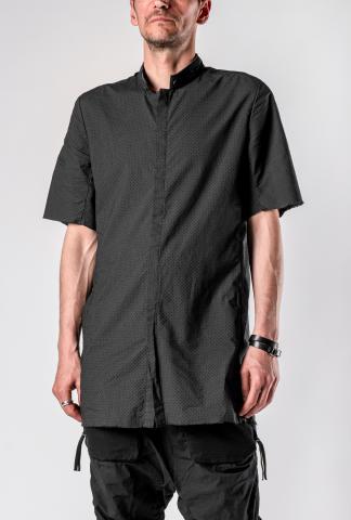 Boris Bidjan Saberi SHIRT4 Perforated Mandarin Collar Short Sleeve Button Up