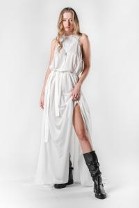 Ann Demeulemeester Long Trilene Off-white Dress with Ribbon