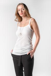 Ann Demeulemeester Aura and Baufra White Net Layered Tank Top