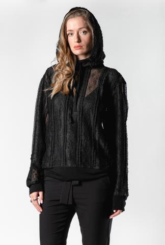 Ann Demeulemeester Open Back Lace Hoodie (Ignota Black)