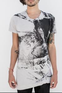 MA_JULIUS Grey/black print tee