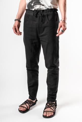 Ann Demeulemeester Laced Waistband, Partially Cuffed Trousers (Palomar + Bastiaan Black)