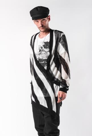 Ann Demeulemeester Egil Black Asymmetric Knitted Cardigan
