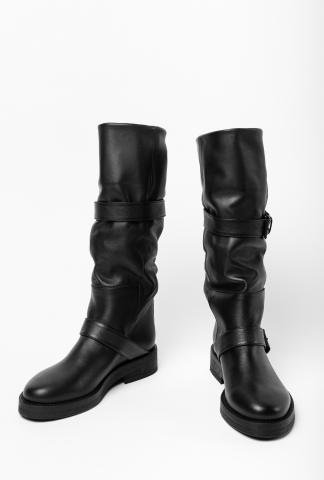 Ann Demeulemeester Tall Buckled Soft Leather Boots (Double Nap Washed Nero)