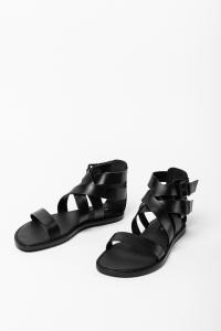Ann Demeulemeester Buckled Leather Sandals (Tuscon Nero)