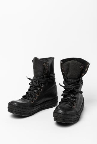 James Kearns Full Grain Pig Leather Foldable High-top Sneakers