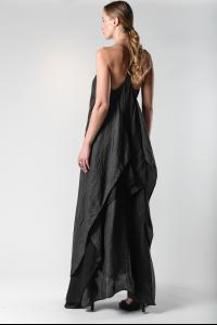 Atelier Septem Black Angel Hand Cut Unsewn Safety Pin Silk Dress