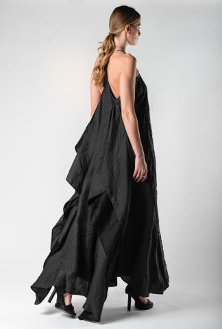 AtelierSeptem Black Angel Hand Cut Unsewn Safety Pin Silk Dress (Elixir Exclusive)