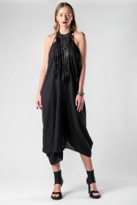 Theodora Bak Pinch Draped Leather Fringes Dress