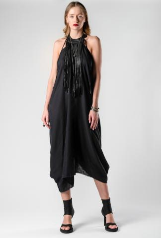 Theodora Bak Pinch Draped Leather Fringes Dress