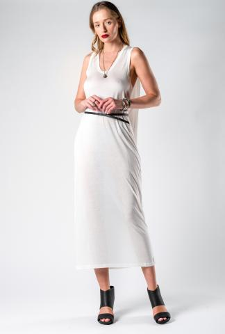 Isabel Benenato Pleated Dress with Leather Belt