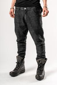 Versuchskind Irregularly Waxed Piece Dyed Asymmetric Low-crotch Jeans