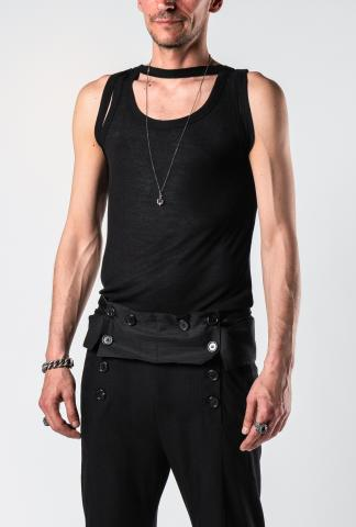 Ann Demeulemeester Aura Black Hem Layered Tank Top