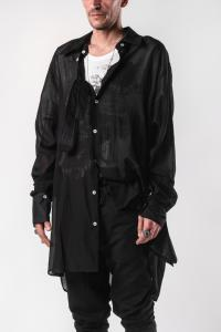 Ann Demeulemeester Double Cuff, Button Strap Oversized Shirt (Tiriel and Rigatino Black)