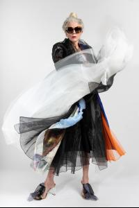 QUETSCHE Japanese Silk Organza Layered Coat