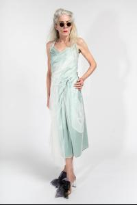 QUETSCHE Layered Silk Dress with Ribbed Jersey Back