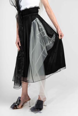 QUETSCHE Japanese Silk Organza Layered Skirt