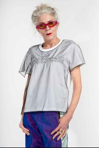 QUETSCHE Japanese Silk Organza Layered Stretch Logo T-shirt