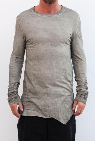 Manuel Marte Cold Dyed Elongated Asymmetric Long Sleeve T-shirt