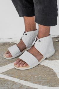 Barny Nakhle Wrinkled Leather Laced Sandals