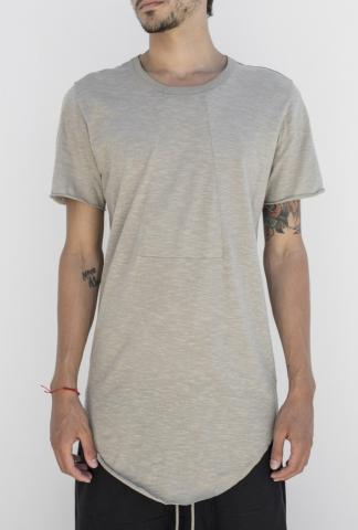 ROOMS by Lost&Found Elongated Curved Hem Short Sleeve T-shirt