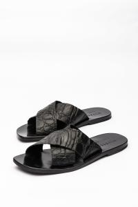 Ulysses by Dimissianos & Miller Crossed Embossed Crocodile Effect Leather Sandals