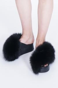 Peter Non Fox Fur Wedge Sandals