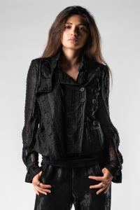 Ann Demeulemeester Double Button Lace Jacket (Ignote Black)