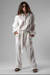 Ann Demeulemeester Belted, Buttoned Loose Jumpsuit (Isle Off-white)