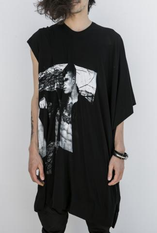 JULIUS_7 knee-length wide/drape tee/dress with pho