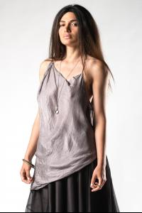 Marc Le Bihan Silk Asymmetric Open Back Top