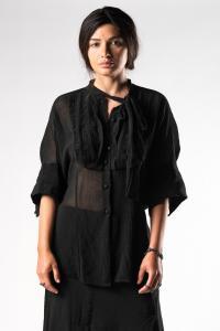 Alessandra Marchi Tie Collar Short Sleeve Shirt