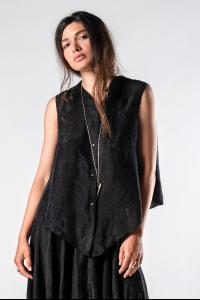 M.A+ Flower Weave Self Edge Open Back Sleeveless Shirt