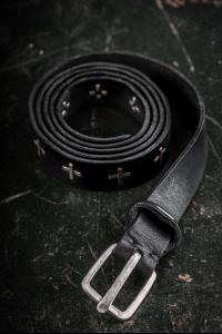 M.A+ EQ2C Silver Cross Studded Full Grain Cow Leather Belt