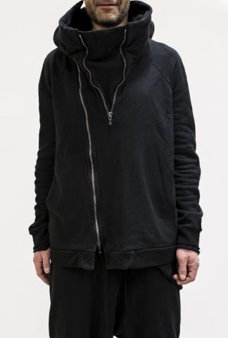 JULIUS_7 Hooded Slashed 2 zipper parka