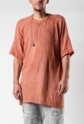 Mavranyma Elongated Woven Raglan Short Sleeve T-shirt