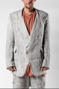 Mavranyma Unevenly Dyed Raw Edge Tailored Lightweight Jacket