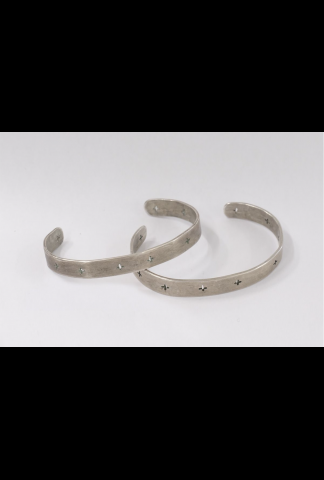M.A+ cross punched silver bracelet