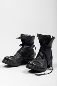 Boris Bidjan Saberi BOOT2 Dark Blue Full Grain Horse Leather Combat Boots