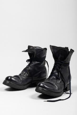 Boris Bidjan Saberi BOOT2 Dark Blue Full Grain Horse Leather Combat Boots