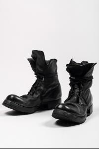 Boris Bidjan Saberi BOOT2 Black Full Grain Horse Leather Combat Boots