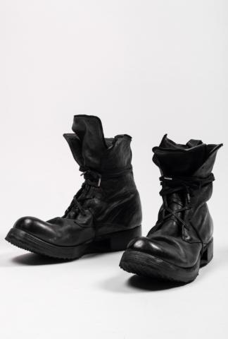 Boris Bidjan Saberi BOOT2 Black Full Grain Horse Leather Combat Boots