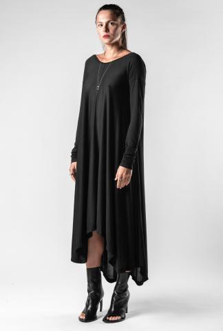 Isabel Benenato Asymmetric Jersey Long Sleeve Dress