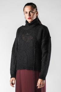Isabel Benenato Soft Semi-Sheer Deconstructed Knit Turtleneck Sweater