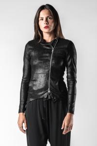 Giorgio Brato Asymmetric Soft Reversed Calf Leather Riders Jacket