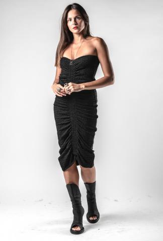 Alessandra Marchi Ruffled Knitted Bodice Dress