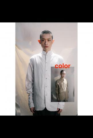 Chiahung Su Shirt Jacket with Mandrain Collar (brown)
