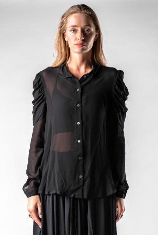 Ann Demeulemeester Pleated Shoulder Button Up Shirt