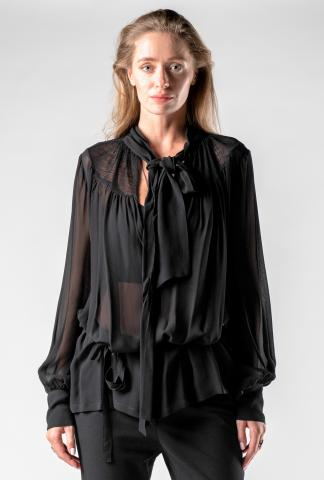 Ann Demeulemeester Two-Fabric Knotted Blouse
