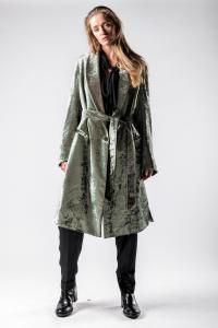 Ann Demeulemeester Iridescent Velvet Shawl Collar Coat with Belt